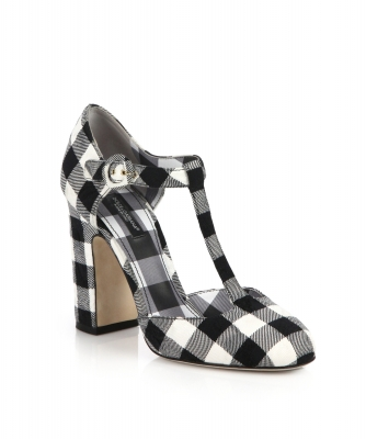 Dolce & Gabbana Gingham Brocade T-bar Pumps - Dolce & Gabbana