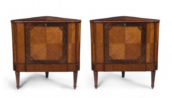 A pair of Dutch Louis Seize corner cabinets