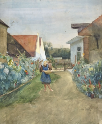 Girl in the garden - Otto Herschel