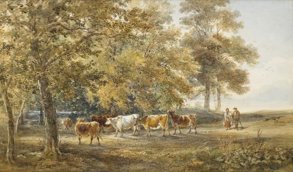 Landschap met koeien - Julius Jacobus van de Sande Bakhuyzen