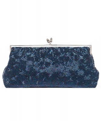 Vintage Iridescent Blue Beaded Frame Clutch - Designer Unknown