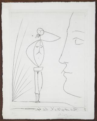 Profil et femme nue