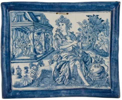 Een Blauwe Plaque in Delfts Aardewerk