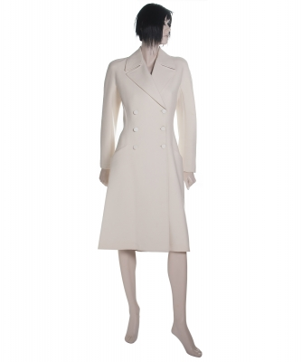 Alaïa White Wool Princess Coat - Azzedine Alaïa
