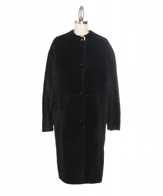 Lanvin Black Lamb Fur Coat