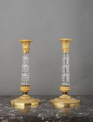 A Pair of Empire Charle X Chrystal/Ormolu mounted candlesticks