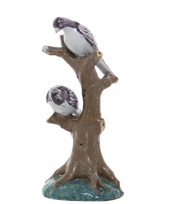 Birds Perched on a Branch of a Tree Trunk in Polychrome Dutch Delftware