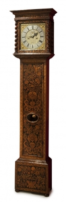 Long case clock with Dutch marqueterie by James Warkwick - London