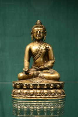 A bronze sculpture of Aksobya Antique Buddhist Art from Tibet