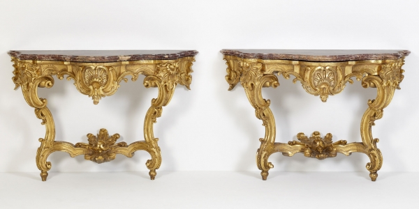Pair of German Louis XV Giltwood Console Tables