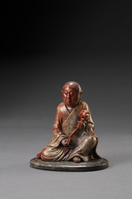A Soapstone Sculpture of a seated Luohan Chinese Qing Dynasty Antique Works of Art