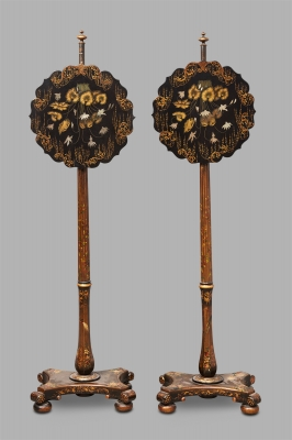 A pair of French Fire Screens decorated with Flowers, circa 1840