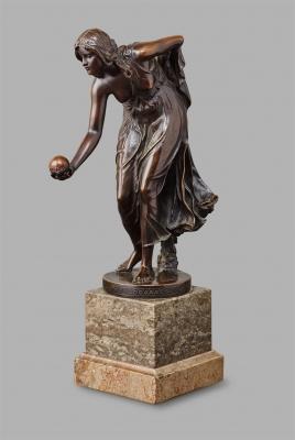 A patinated bronze ' Kugelspielerin' by Walter Scott, circa 1890