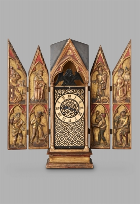A beautiful French Neogothic woodcarved triptych Travelling Clock, by Planchon, circa 1890