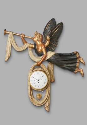 A decorative wooden Austrian cartel clock with angel, circa 1800