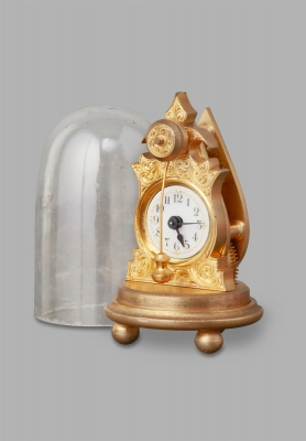 A miniature Austrian ormalu zappler clock with dome and case, circa 1860