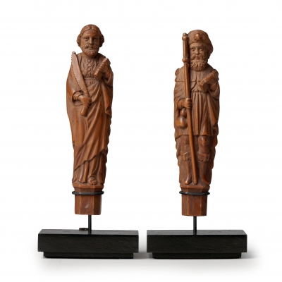 Pair of carved boxwood knife handles