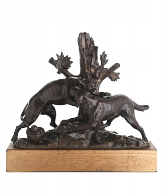 18th Century Bronze Sculpture of Two Fighting Dogs, Naturalistically Modeled