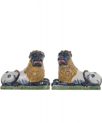 Pair Late 18th-Early 19th Century Luneville Lions