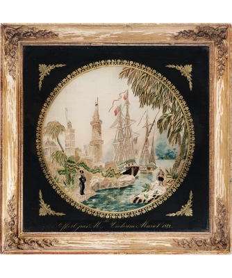 An Eglomise Framed Needlework Panel, with Oriental Scenery and French Ship