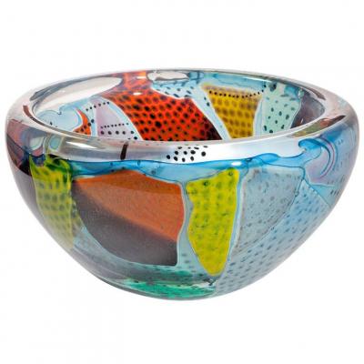 Willem Heesen, Unique glass bowl, from the series 'Carnaval do Rio', Studio de Oude Horn, 1996. - Willem Heesen