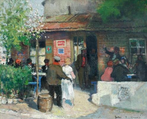 Company at a cafe - Jules René Hervé
