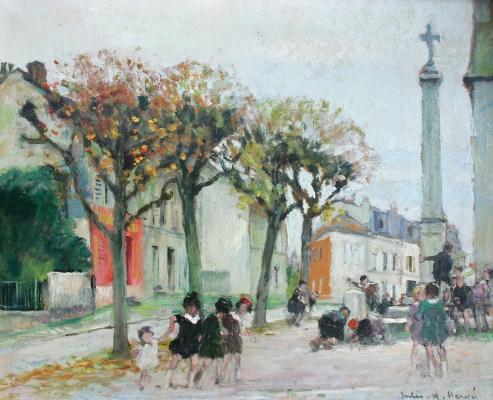 Spelende kinderen op een plein