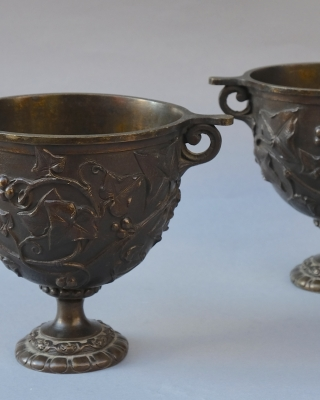 Pair bronze Grand Tour Skyphos cups after Roman models
