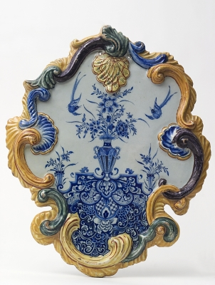 A Plaque in Polychrome Delftware