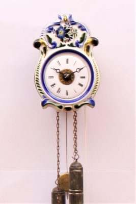 A small German wall clock with alarm, circa 1860
