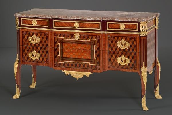 Koninklijke Franse Louis XVI parqueterie Commode, gestempeld Mewesen
