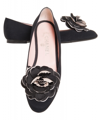Chanel Black Satin Camellia Ballet Flats - Chanel