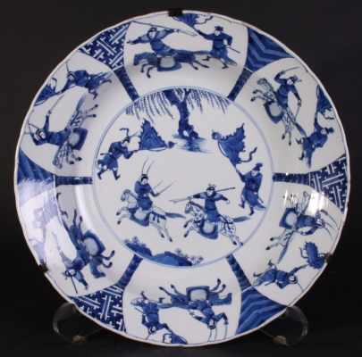 Important large Kangxi charger, warriors on horse.