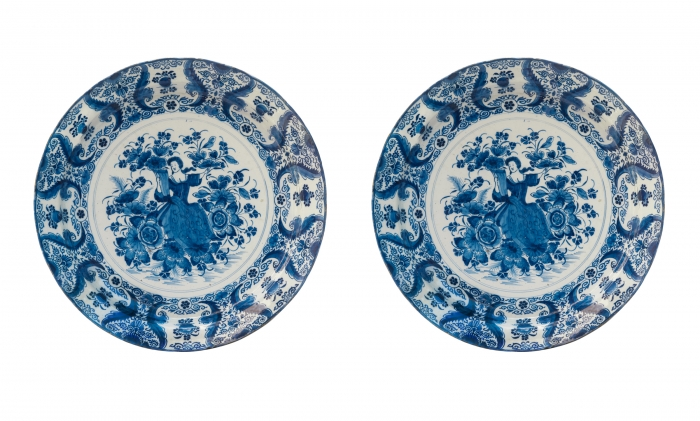 A Pair Blue Delft Chargers