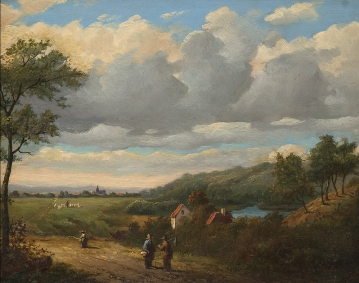 Summerlandscape with travellers