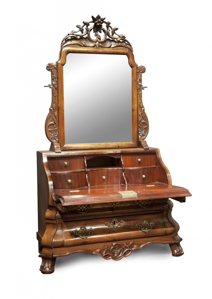 Dutch louis quinze miniature bureau with mirror artlistings for Bureau with mirror