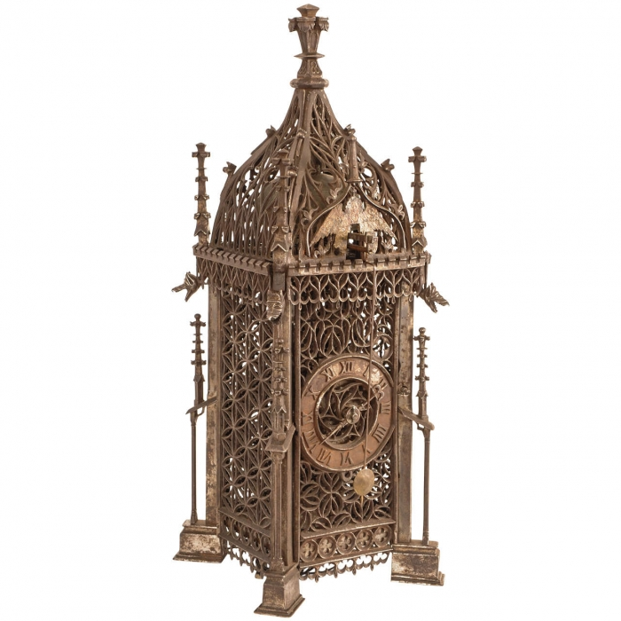 Early possibly french gothic iron chamber clock circa for French chamber