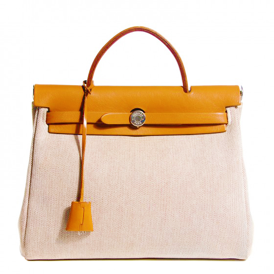 d4b38d19da36 Hermès Herbag 2-in-1 Beige Canvas Leather Bag