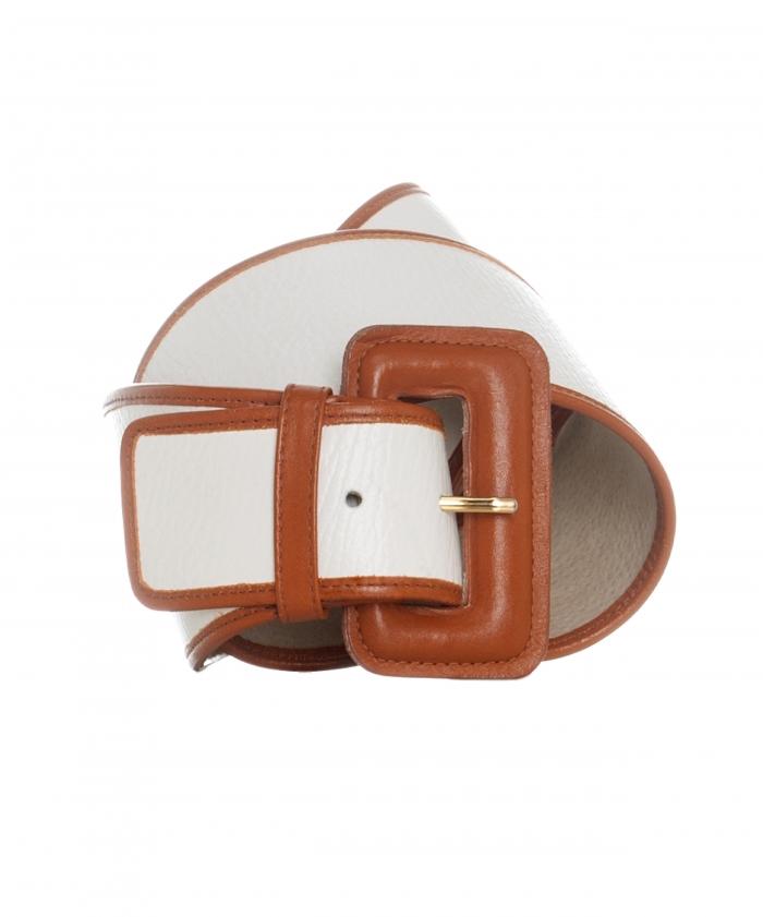 Christian Dior White Caramel Wide Leather Belt
