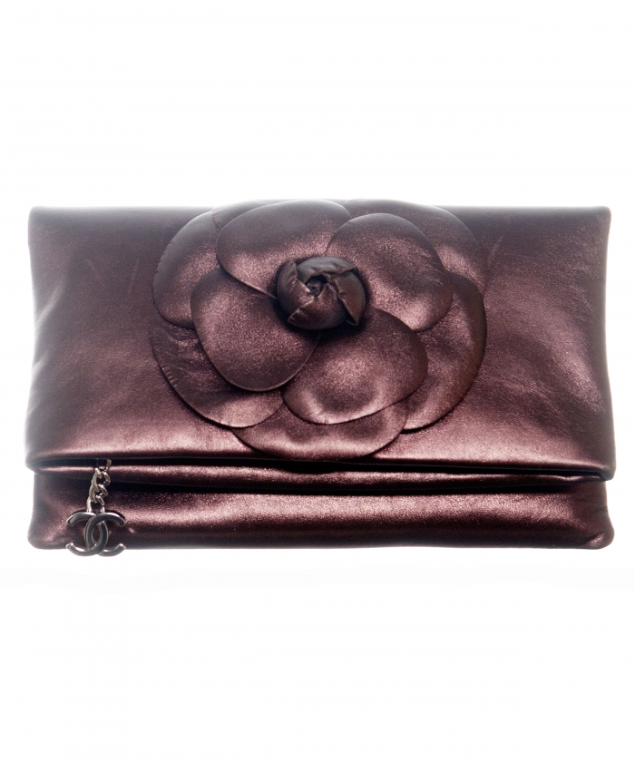 Chanel Bronze Leather Camellia Foldover Clutch