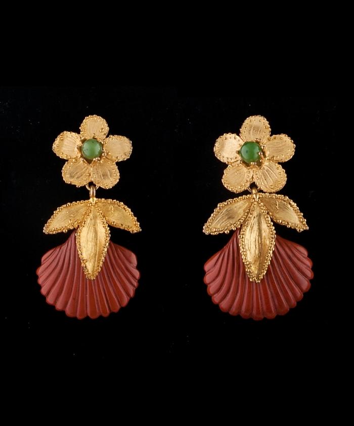 Yves Saint Laurent 'Rive Gauche' Dangling Shell and Flower Earrings