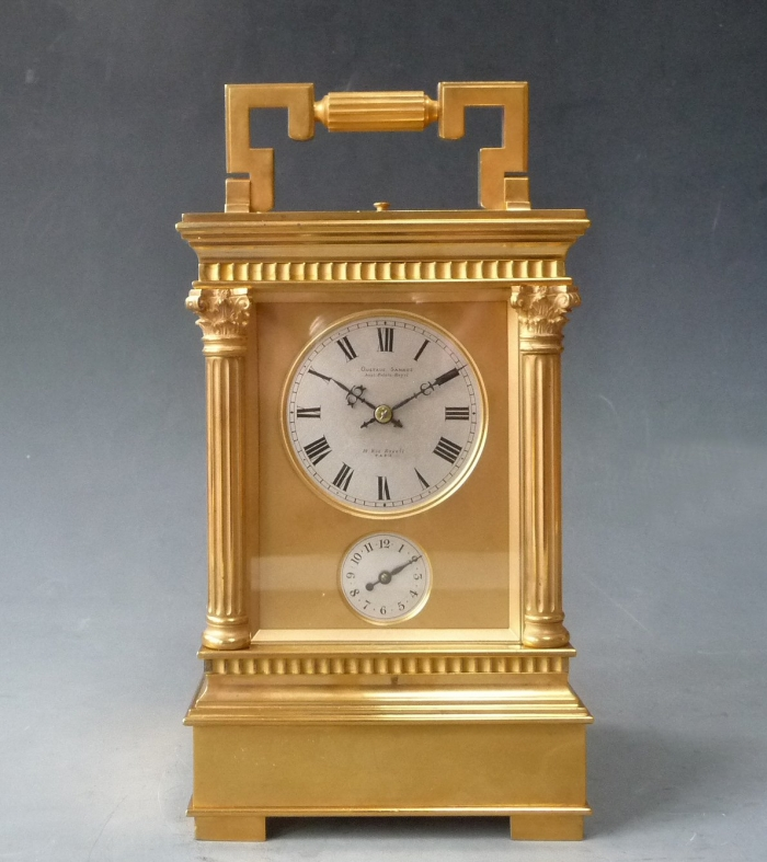 An imposing giant carriage clock, G. Sandoz, Westminster/grande and petite sonnerie on 4 gongs, alarm,  circa 1870