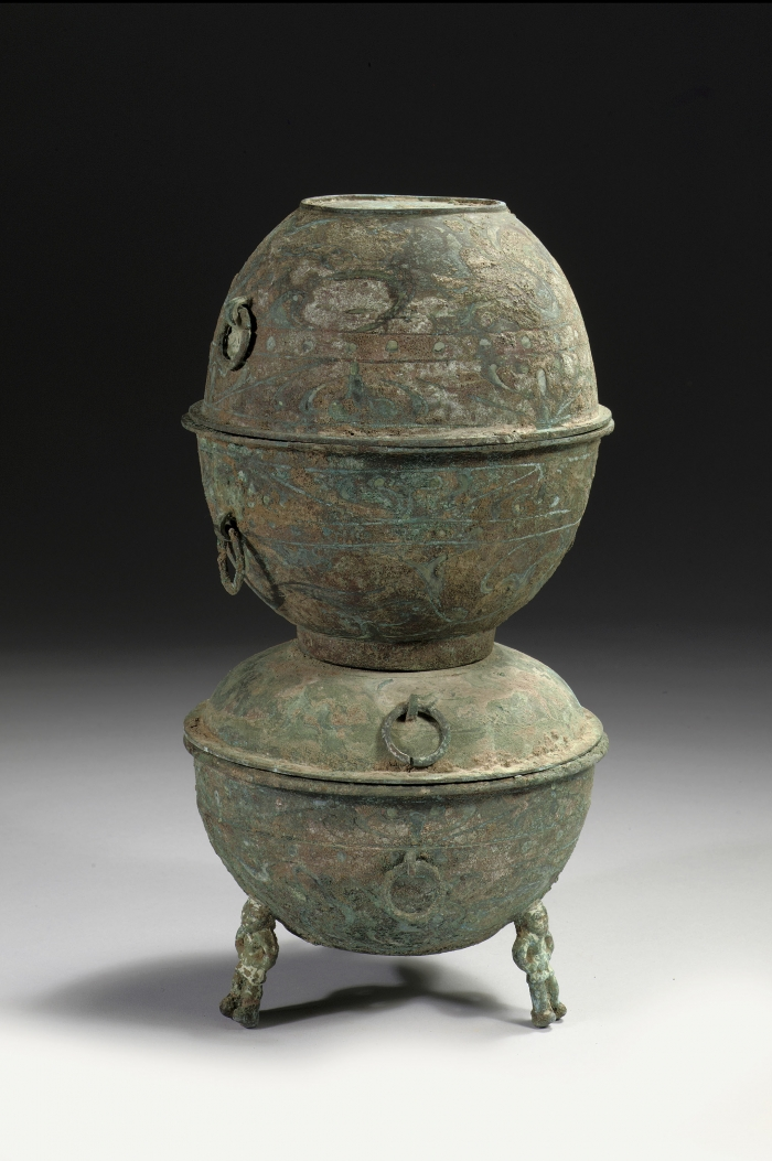Chinese bronze yan with a painted design han dynasty for Chinese art furniture