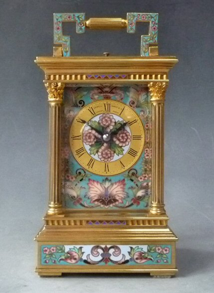 Carriage clock, case Anglaise by Richard, cloisonné decorations, circa 1880.