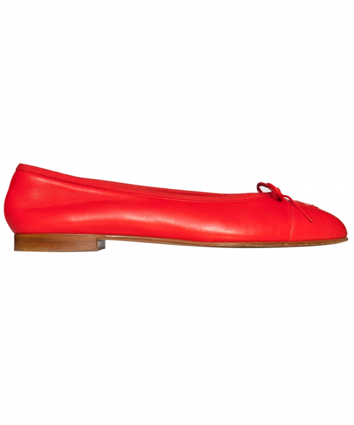 Chanel Red Leather CC Cap Toe Ballet Flats