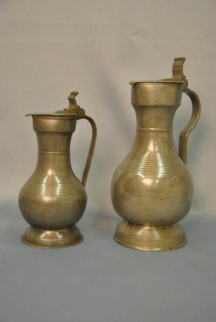 Two pewter Swiss so called