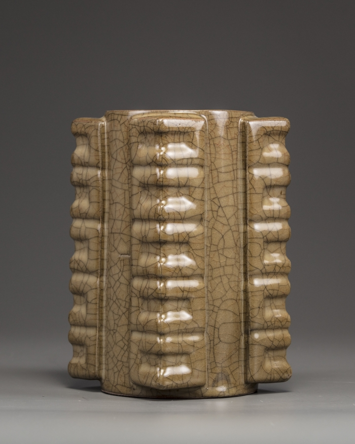 A Chinese crackle-glazed square vase, cong