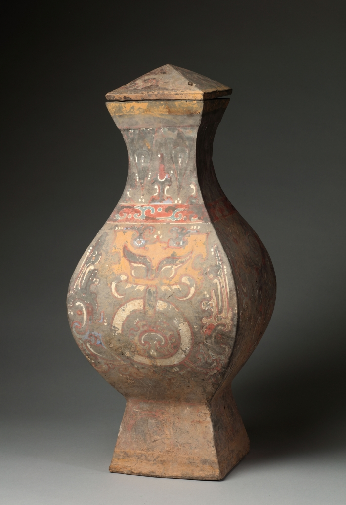 A Chinese Painted Pottery Vase And Cover Fanghu Bb