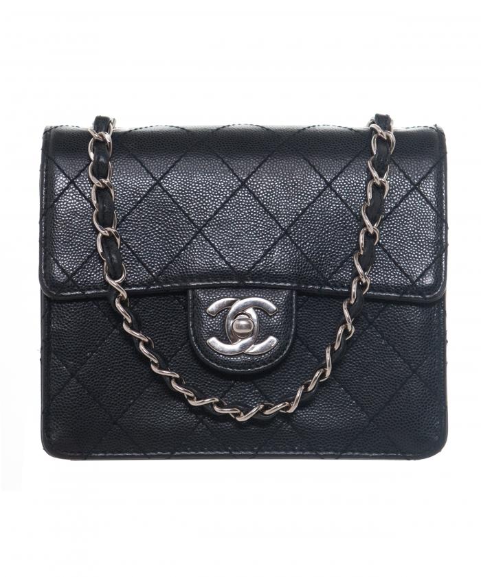 Chanel Vintage Black Caviar Quilted Mini Flap Bag La Doyenne