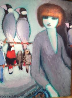 Portrait of a woman with various birds in the  background